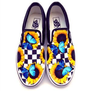 Sunflower & Butterfly Custom Vans